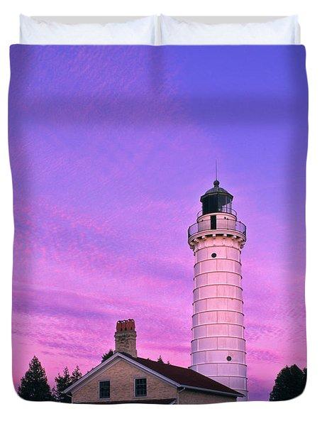 Days End At Cana Island Lighthouse - Fm000003 Duvet Cover