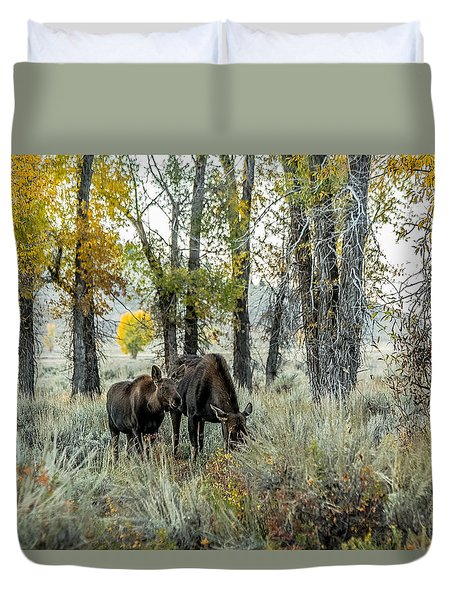 Duvet Cover featuring the photograph Day's End At Gros Ventre by Yeates Photography