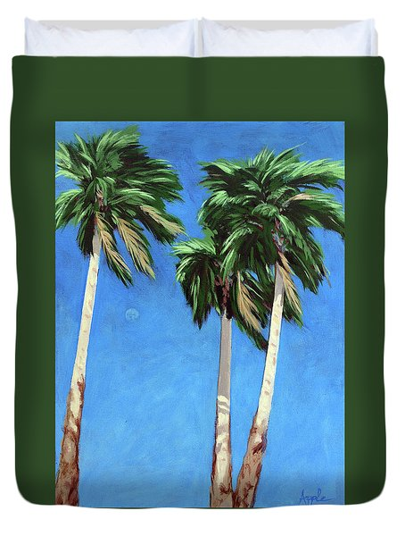 Duvet Cover featuring the painting Daytime Moon In Palm Springs by Linda Apple
