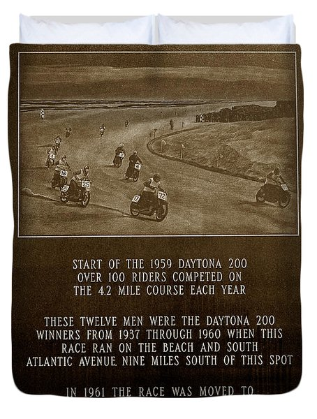 Daytona 200 Plaque Duvet Cover by David Lee Thompson