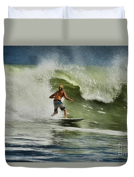 Daytona Beach Surfing Day Duvet Cover