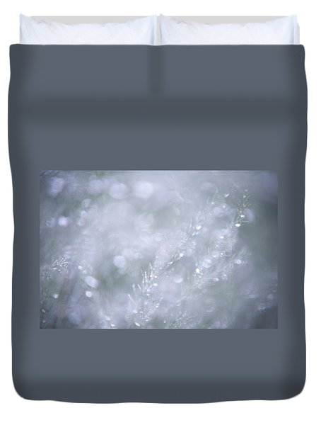 Duvet Cover featuring the photograph Dazzling Silver World by Jenny Rainbow