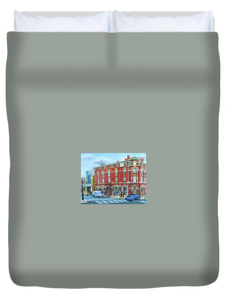 Duvet Cover featuring the painting dDowntown Doylestown by Oz Freedgood