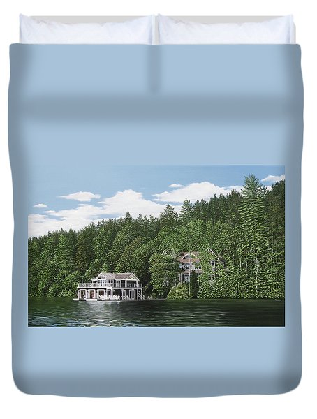 Duvet Cover featuring the painting De Groote Summer Home Muskoka by Kenneth M Kirsch