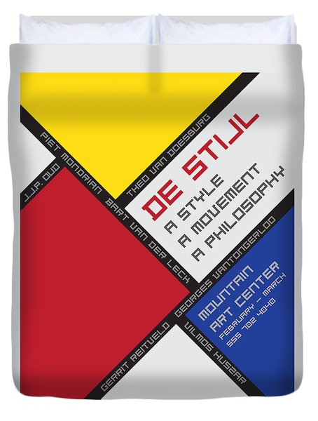 Duvet Cover featuring the digital art De Stijl by Chuck Mountain