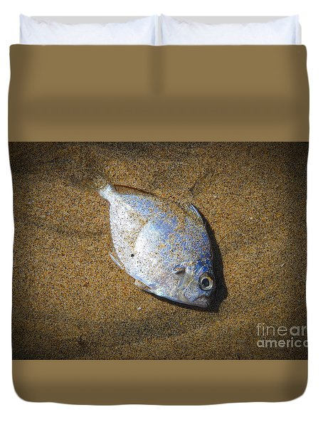 Dead Fish On The Beach Duvet Cover