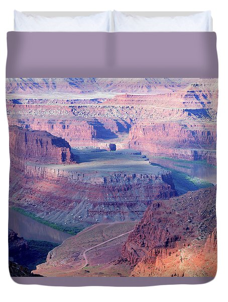 Duvet Cover featuring the photograph Dead Horse Point Overlook by Anne Mott