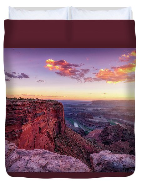 Duvet Cover featuring the photograph Dead Horse Point Sunset by Darren White