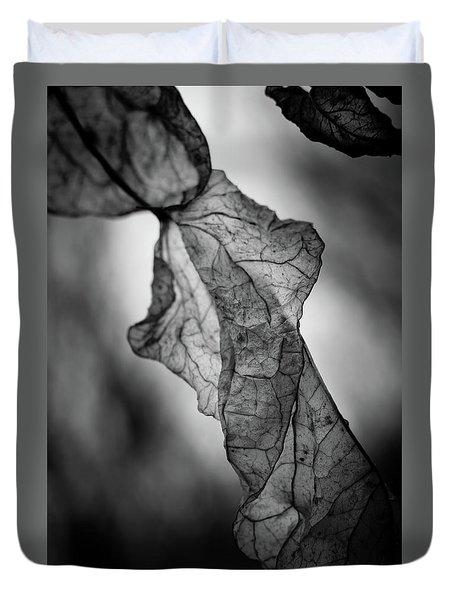 Fragile Leaf Bw Duvet Cover