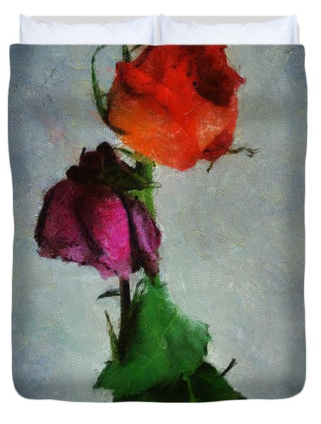 Duvet Cover featuring the digital art Dead Roses by Francesa Miller