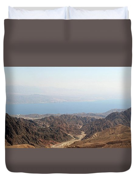 Duvet Cover featuring the photograph Dead Sea-israel by Denise Moore