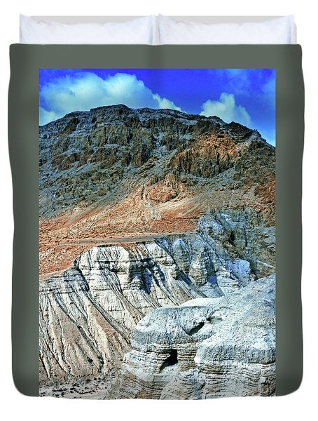 Dead Sea Scroll Caves Duvet Cover