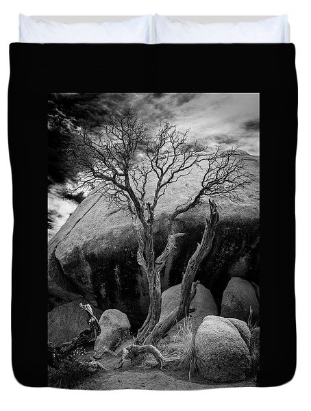 Dead Tree And Boulder At Joshua Tree Duvet Cover