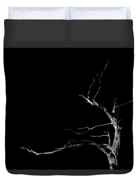 Dead Tree On Black Background Duvet Cover