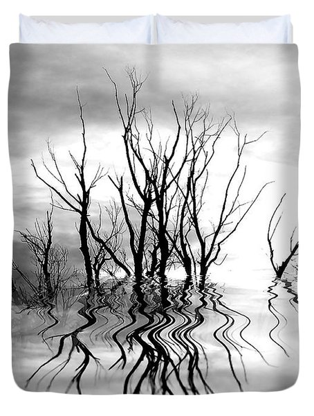 Duvet Cover featuring the photograph Dead Trees Bw by Susan Kinney