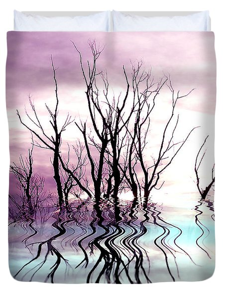 Duvet Cover featuring the photograph Dead Trees Colored Version by Susan Kinney