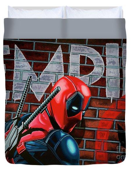 Deadpool Painting Duvet Cover by Paul Meijering