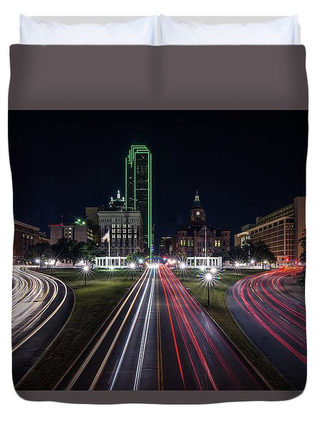 Dealey Plaza Dallas At Night Duvet Cover
