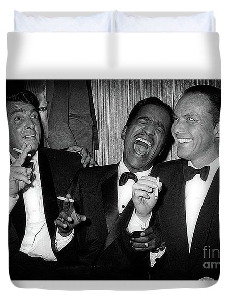Dean Martin, Sammy Davis Jr. And Frank Sinatra Laughing Duvet Cover