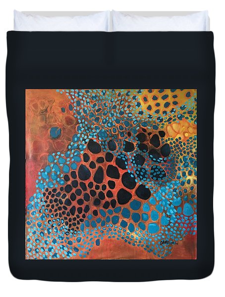 Duvet Cover featuring the painting Dear Sugar What Can I Learn From An Orange Sky? by Laurie Maves ART