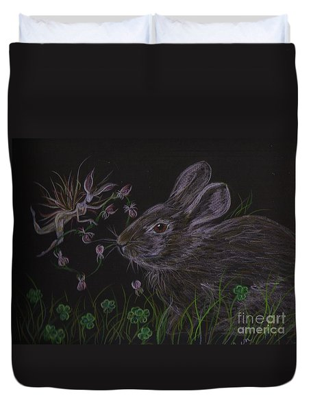 Dearest Bunny Eat The Clover And Let The Garden Be Duvet Cover by Dawn Fairies