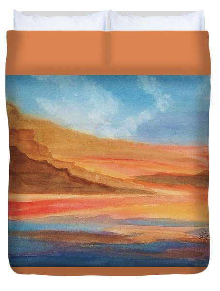 Duvet Cover featuring the painting Death Valley by Ellen Levinson