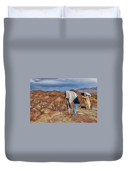 Duvet Cover featuring the photograph Death Valley Photographers by Jim Dollar