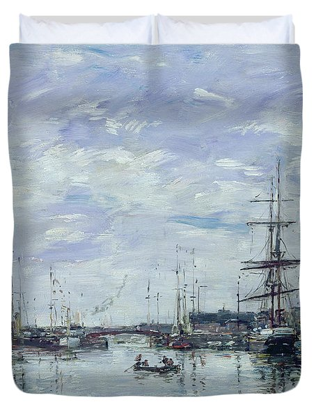 Deauville The Dock Duvet Cover by Eugene Louis Boudin