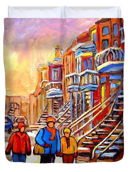Debullion Street Winter Walk Duvet Cover by Carole Spandau