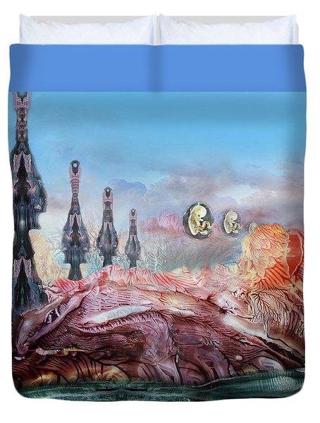 Decalcomaniac Transmission Towers Duvet Cover by Otto Rapp