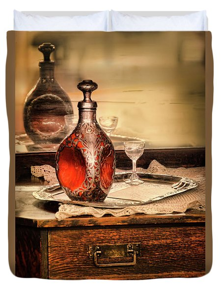 Duvet Cover featuring the photograph Decanter And Glass by Jill Battaglia