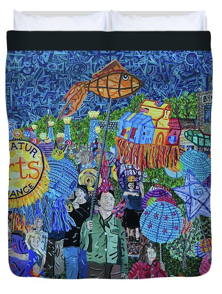 Decatur Lantern Parade Duvet Cover by Micah Mullen