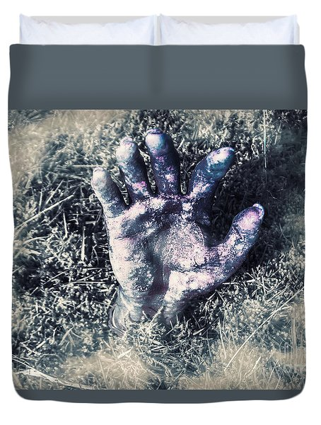 Decaying Zombie Hand Emerging From Ground Duvet Cover