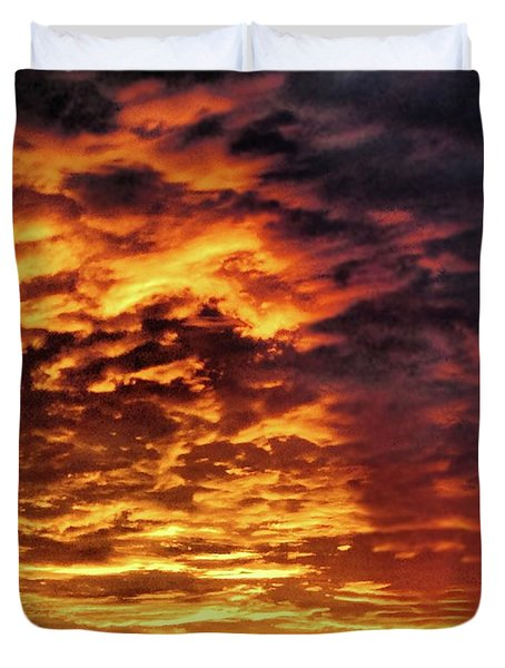 Duvet Cover featuring the painting December Austin Sunset  by Layne William LoMaglio