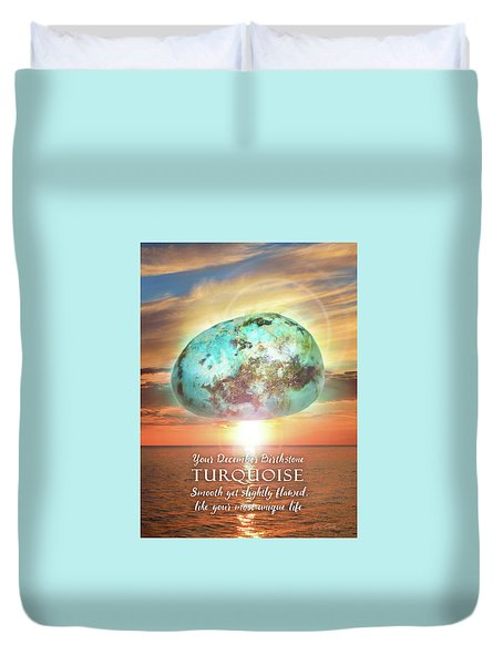 December Birthstone Turquoise Duvet Cover