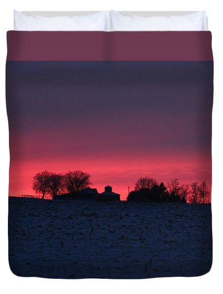 December Farm Sunset Duvet Cover by Kathy M Krause