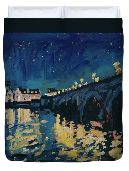 December Lights At The Old Bridge Duvet Cover