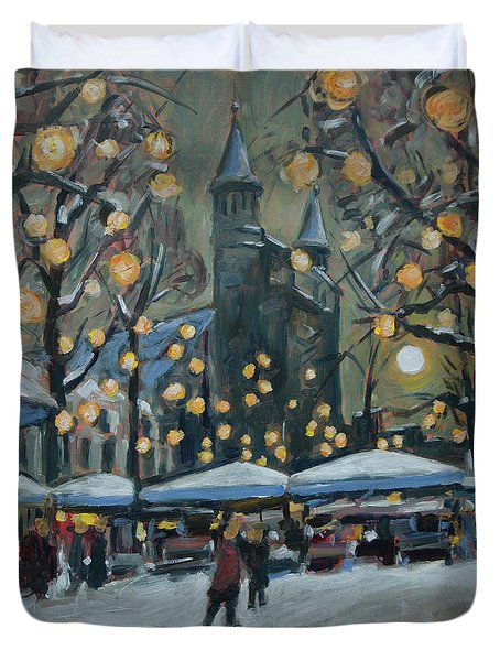 December Lights At The Our Lady Square Maastricht 2 Duvet Cover