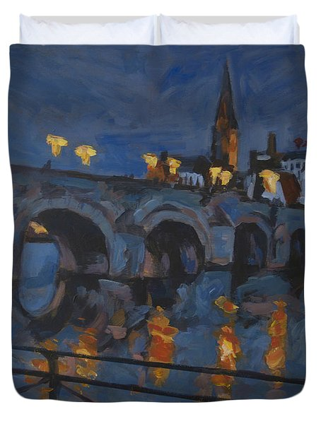 December Lights Old Bridge Maastricht Acryl Duvet Cover