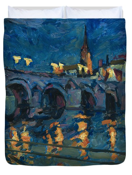 December Lights Old Bridge Maastricht Duvet Cover