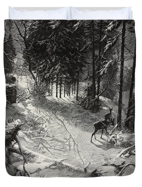 December Night Snow Covered Wood Duvet Cover