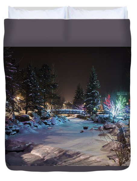 December On The Riverwalk Duvet Cover