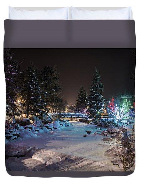 December On The Riverwalk Duvet Cover