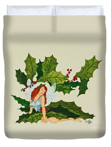 Duvet Cover featuring the painting December by Terri Mills