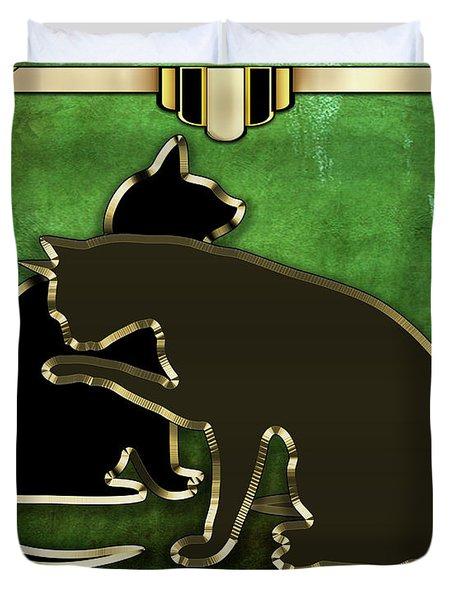 Deco Cats - Emerald Duvet Cover