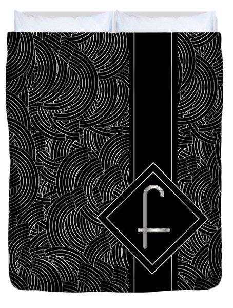 Deco Jazz Swing Monogram ...letter F Duvet Cover