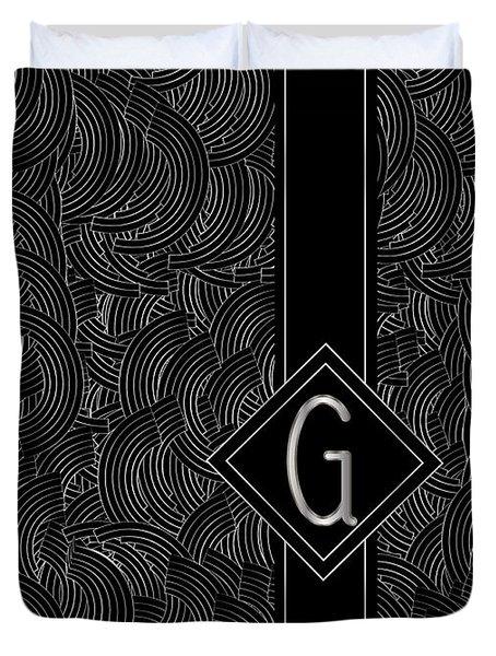 Deco Jazz Swing Monogram ...letter G Duvet Cover