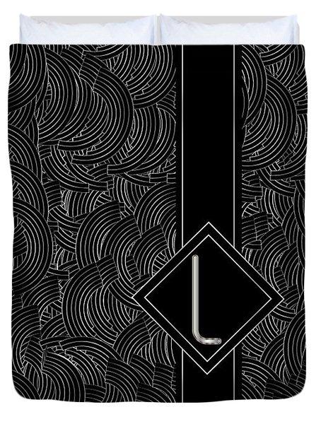 Deco Jazz Swing Monogram ...letter L Duvet Cover