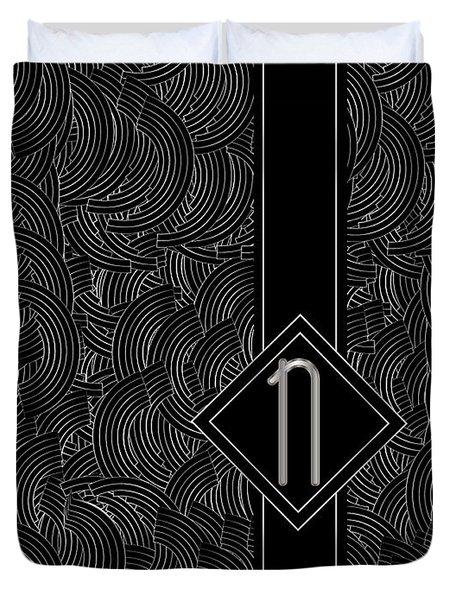 Deco Jazz Swing Monogram ...letter N Duvet Cover