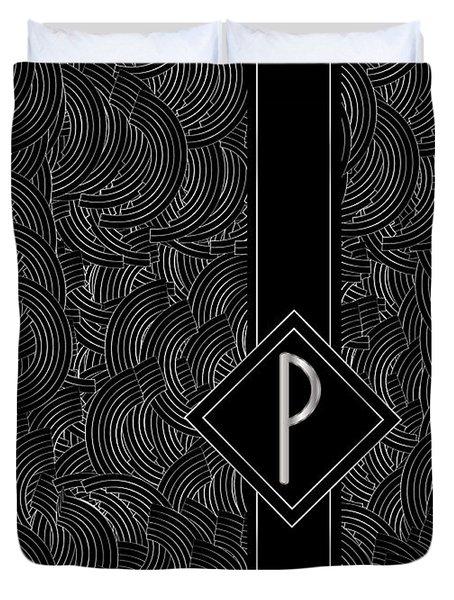Deco Jazz Swing Monogram ...letter P Duvet Cover